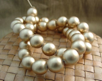 6, 8, or 12 mm Round Wood Beads, Metallic Gold Color, 15 inch Strand