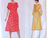 Vogue American Designer Pattern Albert Nipon 2124, Size 10, Elegant Pintucked Dress