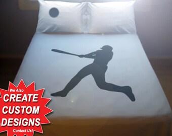 Baseball Duvet Cover Sheet Set Bedding Queen King Twin Size Player Hitter Bat Helmet Ball full double