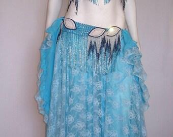 Belly Dance Costume, Blue Belly Dance Skirt, Lace Belly Dance Costume, Sequin Belly Dance, Blue Circle Skirt, Gypsy Belly Dance, Bedlah,