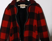WOOLRICH Lined Red Black Buffalo Plaid Jacket Coat L XL
