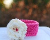 Infant earwarmer Baby girl flower headband Newborn winter accessory Pink cream ivory Shower gift Team spirit colors Take home Birthday