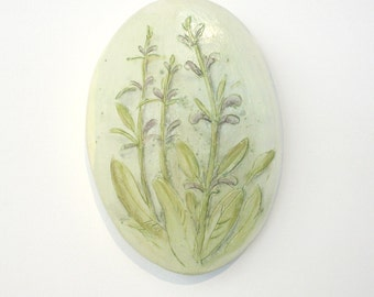 Decorative tile with hand painted botanicals. Salvia, woodland, herbs, medicinal plants, green, violet, chartreuse, spring, wall hanging