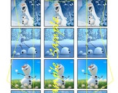 Frozen inspired  Olaf 1 inch square image sheet, 15 images, scrabble size