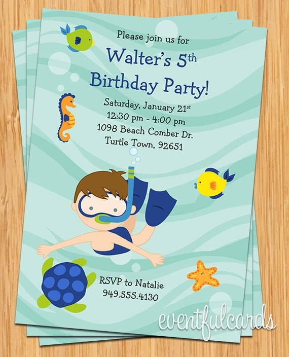 Boys Snorkle Under The Sea Party Birthday Invitation By