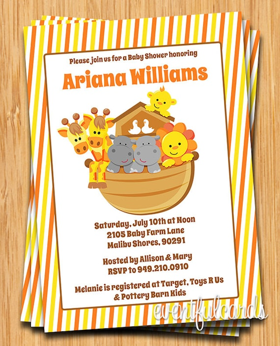 noah 39 s ark baby shower invitation by eventfulcards catch my party