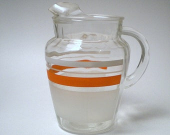 Vintage Orange and White Frosted Pitcher