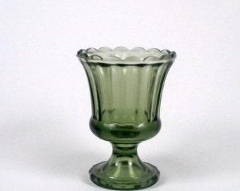 Vintage Green Glass Vase with Pedestal