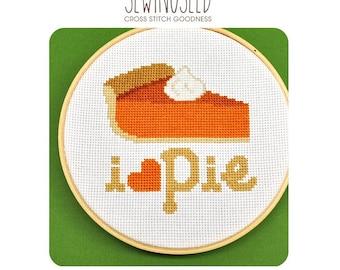 I love Pie Cross Stitch Pattern Instant Download, Thanksgiving