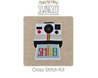 Smile Vintage Instant Camera Cross Stitch Kit, DIY Embroidery Kit