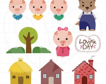 Three Little Pigs Clip Art Set -  D13014