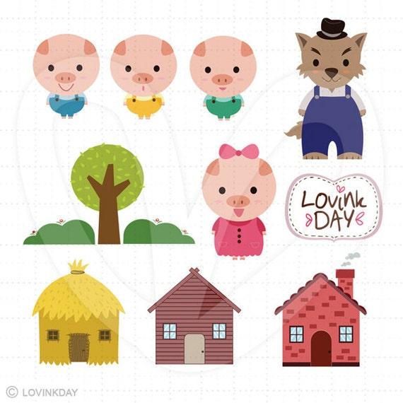 Little Pigs Clip Art Set D13014