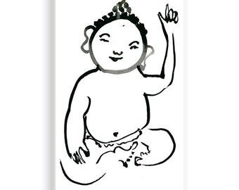Baby Buddha, Zen Fine Art Sumi e Ink Painting, childrens art, zen Japan scroll illustration, zen decor, Buddhist Art, nursery art, jizo
