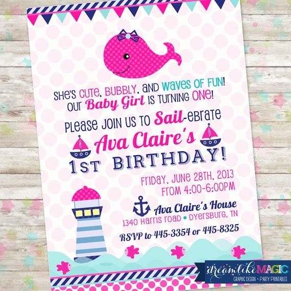 nautical birthday invite, girl's nautical birthday invitation, Birthday invitations