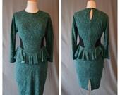 CLEARANCE Vintage PEPLUM 80s Green and Black Digital Design Stretch Cotton Dress