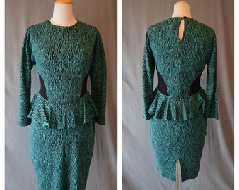 CLEARANCE Vintage PEPLUM 80s Green and Black Digital Design Stretch Cotton Dress