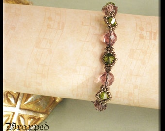 Lilac, Olive & Bronze Bracelet/Seed Beads/Swarovski and Czech Crystals/Beadweaving/Downton Abbey/Orchid Lavender/Victorian Tudor/Stacking