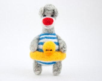 felted bear with a duck, brooch