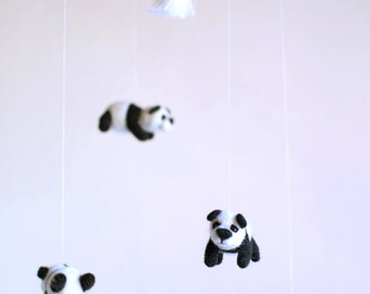 Panda mobile - nursery mobile - kids mobile - bear mobile - felted mobile - animal mobile