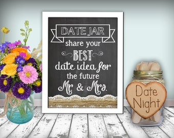 Date Jar Sign Chalkboard Printable 8x10 PDF Instant Download Burlap & Lace Rustic Shabby Chic Woodland Bridal Shower Printable Sign