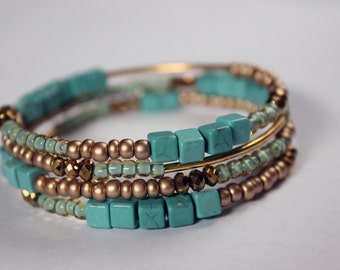 Turquoise square stone, metallic gold, blue stacked memory wire bracelet
