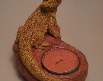Bearded Dragon Candle Holder NEW!  terra cotta (orange yellow finish)