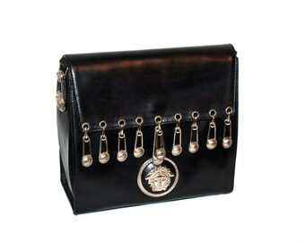 GIANNI VERSACE Couture Vintage Safety Pin Handbag Black Leather Hanging Medusa Tote - AUTHENTIC -