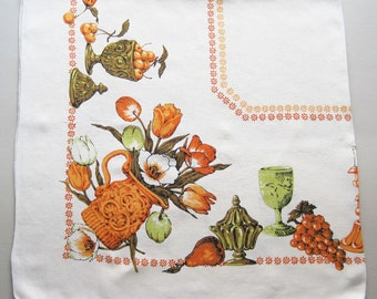 Vintage Floral Tablecloth with Tulips Grapes Fruits Goblets Candlesticks Orange Brown Green