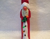 Hand Carved Santa Decoration Tree Ornament Wood Carving  Christmas Gift Ornament Decor Handmade Unique Gift Woodworking Santa Claus OOAK