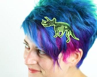 Tricertops Skeleton Hair Clip, Halloween, Various Colours on Green