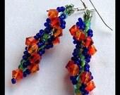 Blue and Orange Earrings, Dangle Earrings, Cluster Earrings, Swarovski Crystal Earrings, Fire Opal Earrings, Spring and Summer Jewelry