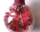 Fairy Christmas Ornament, Red and Pink, Mixed Media Assemblage Art, Holiday 2013