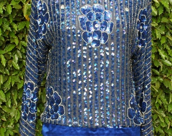 Vintage Sequin Top Long Sleeves  Blue n Silver size S/M