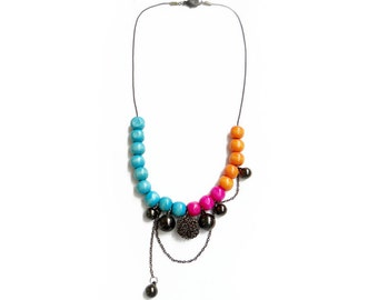 Colorful Statement Necklace, Beaded Layered Necklace - Bits of Summer Collection