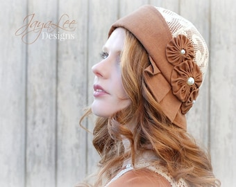 Cloche Hat 1920s style in Autumn Rust and Lace