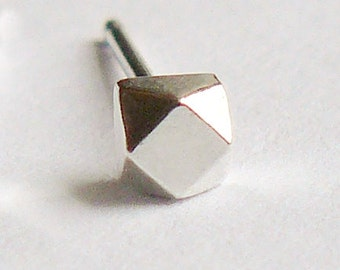 Single Silver Stud - Tiny Sterling Geometric Cube - Faceted Faux Diamond Earring - Cartilage or Second Hole - Nickel Free Ethical Jewelry