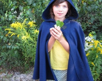 Blue Cape - Wool Cape - Mid-Length Cape - Cape With Hood - Hooded Cape