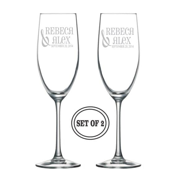 Champagne Glasses Wedding Gift Personalized Toasting Glasses Engraved ...