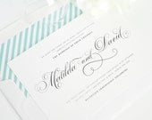 Angelic Script Wedding Invitation - Calligraphy, Classic, Blue, Stripes, Swirls, Classy -  Wedding Invitation - Deposit to Get Started