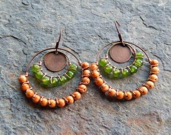 Beaded gypsy hoop earrings, wire wrapped chandelier earrings, green and brown, colorblock earrings, copper jewelry, boho style gypsy earring