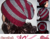 Men's Knit Hat, Slouchy Beanie Burgundy and Gray, Accessories, Striped Mans Hat, MADE TO ORDER