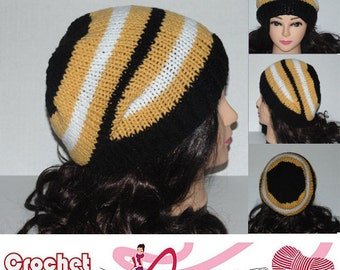 Slouchy Beanie, Team Hat, Womans Accessories, Mans Accessories, Beanie Hat, Teen Hat, Black Golden Yellow and White