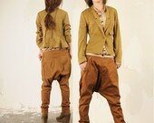 Brown double-breasted waist harem pants