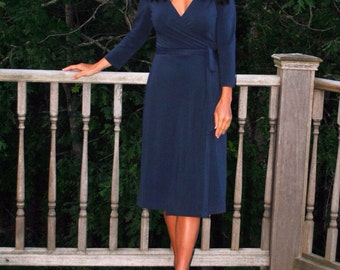 Bamboo and organic cotton wrap dress/tunic - in Navy