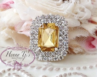 5 pcs - 30mm YELLOW / Light Topaz Silver Metal Crystal Rhinestone Buttons - wedding / hair / dress / garment accessories Flower Center