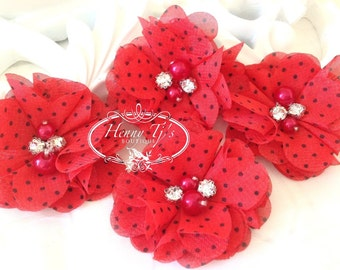 NEW: 4 pcs Aubrey RED Polka Dots Patterned - Soft Chiffon with pearls and rhinestones Layered Small Fabric Flowers, Hair accessories