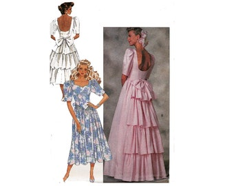 80s Prom Dress Pattern Butterick 6939 Low Back Ruffled Gown Vintage Sewing Pattern Size 12 Bust 34 inches