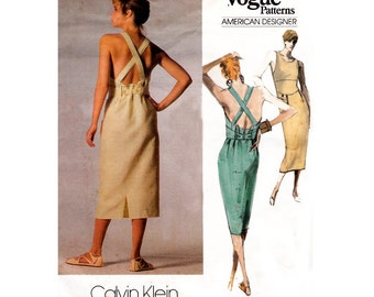 80s Calvin Klein Backless Sun Dress Pattern Vogue American Designer 1676 Vintage Sewing Pattern  Size 16 Bust 36 UNCUT Factory Folded