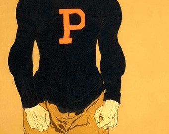 "Reproduction of  Vintage Print ""Princeton Footballer"" .- 13x19"