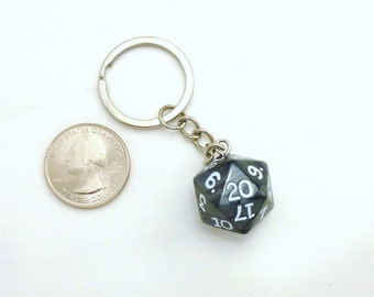 Black Pearl D20 Keychain, D&D Keychain, Dice Keychain, Geekery Keychain, Nerdy Keychain, Gamer Keychain, Dungeons and Dragons Keychain,